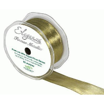Eleganza 38mm Finesse Metallic Wired Ribbon 15m Roll - Gold-The Creative Bride