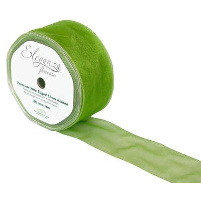 Eleganza 50mm Finesse Wired Ribbon 20m Roll - Pistachio Green-The Creative Bride