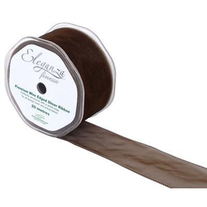 Eleganza 50mm Finesse Wired Ribbon 20m Roll - Chocolate-The Creative Bride