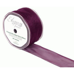 Eleganza 50mm Finesse Wired Ribbon 20m Roll - Aubergine-The Creative Bride