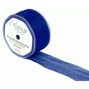 Eleganza 50mm Finesse Wired Ribbon 20m Roll - Navy Blue-The Creative Bride