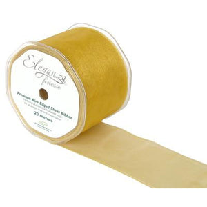 Eleganza 70mm Finesse Wired Ribbon 20m Roll - Light Gold-The Creative Bride