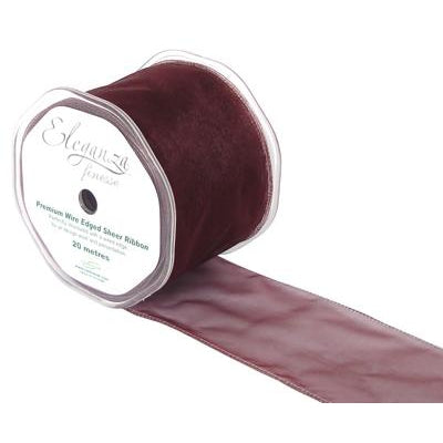 Eleganza 70mm Finesse Wired Ribbon 20m Roll - Burgundy-The Creative Bride