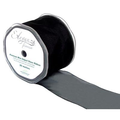 Eleganza 70mm Finesse Wired Ribbon 20m Roll - Black-The Creative Bride