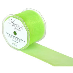 Eleganza 70mm Finesse Wired Ribbon 20m Roll - Lime Green-The Creative Bride