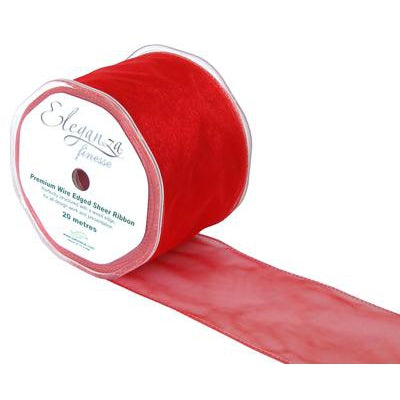 Eleganza 70mm Finesse Wired Ribbon 20m Roll - Red-The Creative Bride