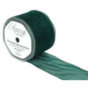 Eleganza 70mm Finesse Wired Ribbon 20m Roll - Green-The Creative Bride