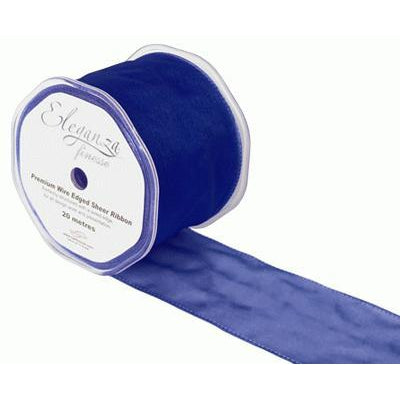 Eleganza 70mm Finesse Wired Ribbon 20m Roll - Navy Blue-The Creative Bride