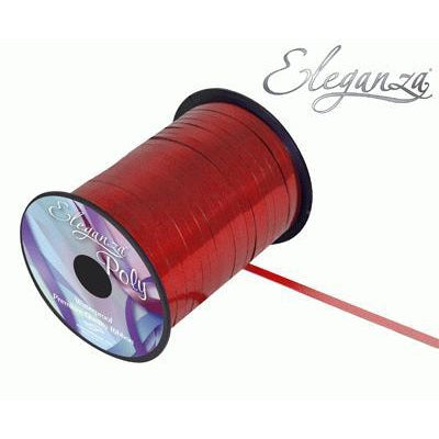 Eleganza 5mm Poly Curling Ribbon 250yrd Roll - Metallic Red-The Creative Bride