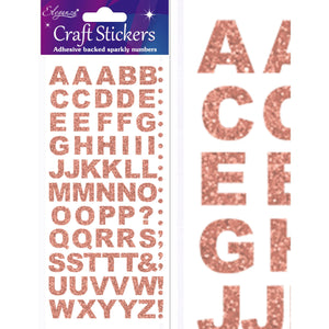 Eleganza Craft Self-Adhesive Alphabet Glitter Stickers - Rose Gold-The Creative Bride