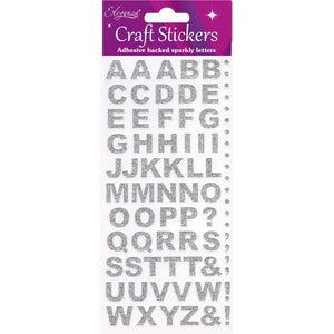 Eleganza Craft Self-Adhesive Alphabet Glitter Stickers - Silver-The Creative Bride