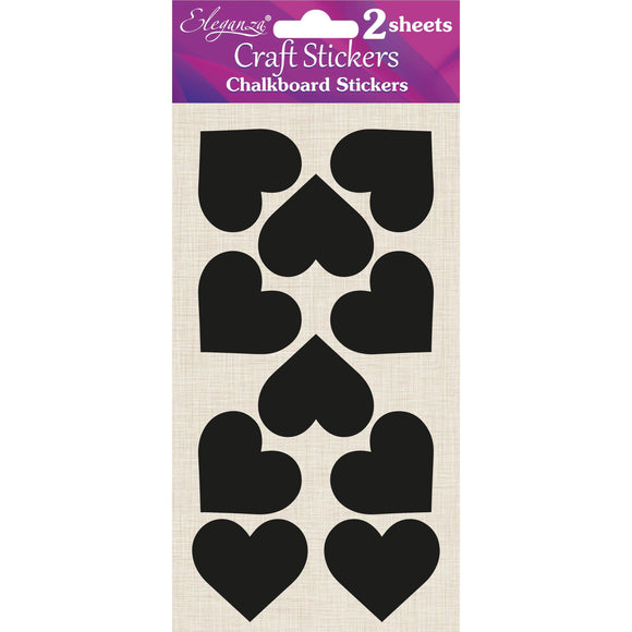 Eleganza Craft Self-Adhesive Chalkboard Heart Stickers-The Creative Bride