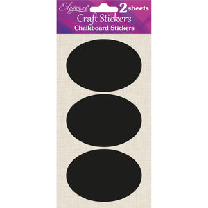 Eleganza Craft Self-Adhesive Chalkboard Oval Stickers - 6pcs-The Creative Bride
