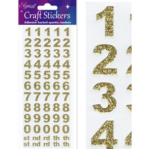 Eleganza Craft Self-Adhesive Number Set Glitter Stickers - Gold-The Creative Bride