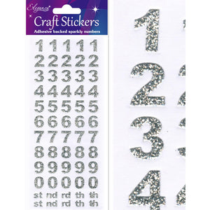 Eleganza Craft Self-Adhesive Number Set Glitter Stickers - Silver-The Creative Bride