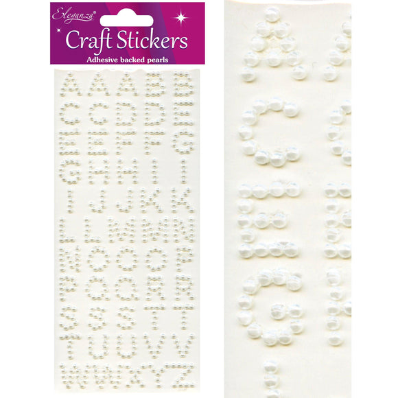 Eleganza Craft Self-Adhesive Pearl Alphabet Stickers-The Creative Bride