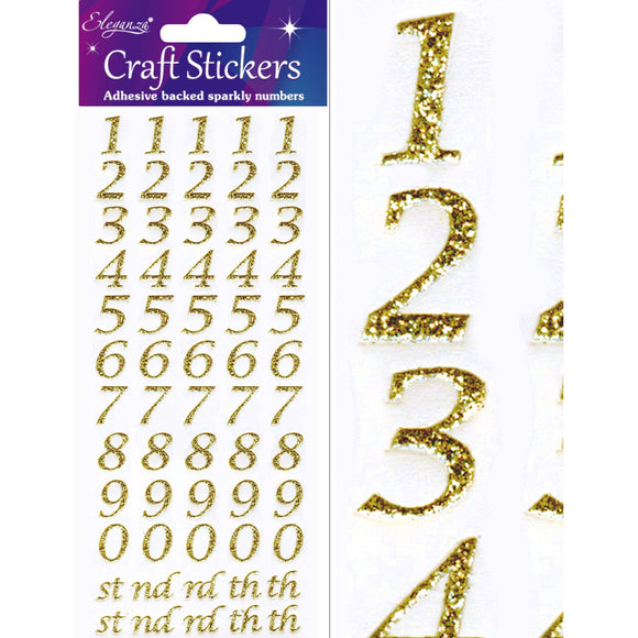 Eleganza Craft Self-Adhesive Stylised Numbers Glitter Stickers - Gold-The Creative Bride