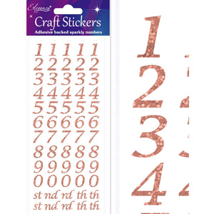 Eleganza Craft Self-Adhesive Stylised Numbers Glitter Stickers - Rose Gold-The Creative Bride