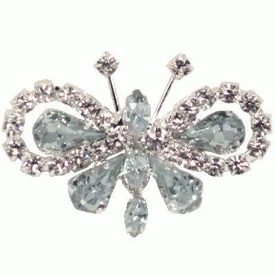 Eleganza Diamanté Butterfly Brooch 35x50mm-The Creative Bride