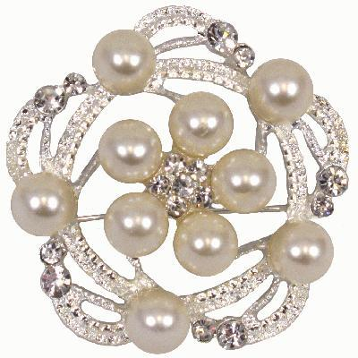 Eleganza Diamanté Pearl & Diamanté Swirl Brooch 55mm-The Creative Bride