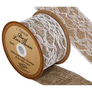 Eleganza Floral Lace Hessian Ribbon-The Creative Bride