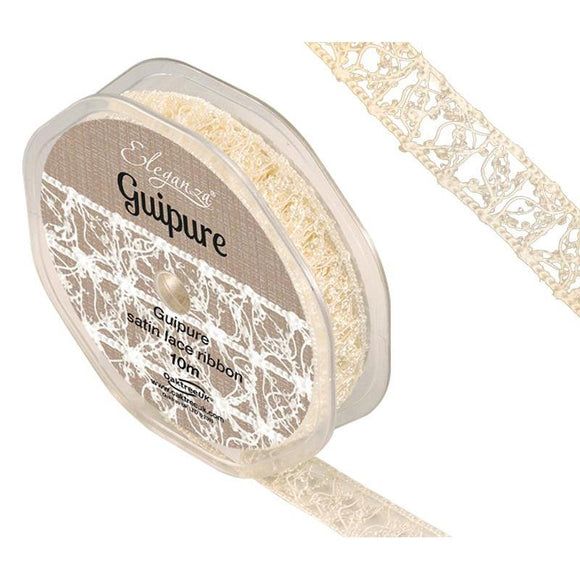 Eleganza Guipure Satin Lace Ribbon - Ivory 15mm-The Creative Bride