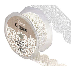 Eleganza Guipure Satin Lace Ribbon - White 32mm-The Creative Bride