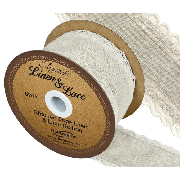 Eleganza Linen and Lace Stitched Edge Ribbon - Ivory 38mm-The Creative Bride