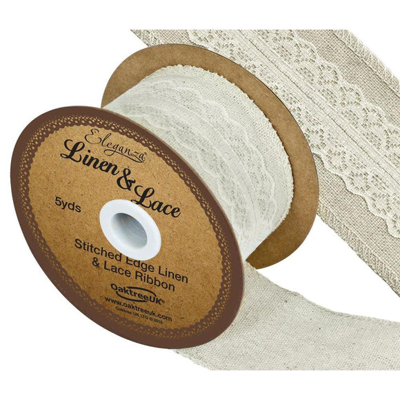 Eleganza Linen and Lace Stitched Edge Ribbon - Ivory 50mm-The Creative Bride