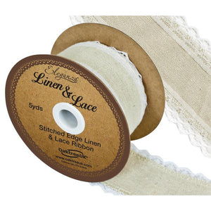 Eleganza Linen and Lace Stitched Edge Ribbon - White 38mm-The Creative Bride