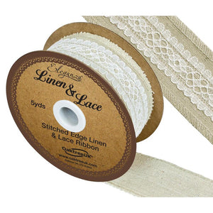 Eleganza Linen and Lace Stitched Edge Ribbon - White-The Creative Bride