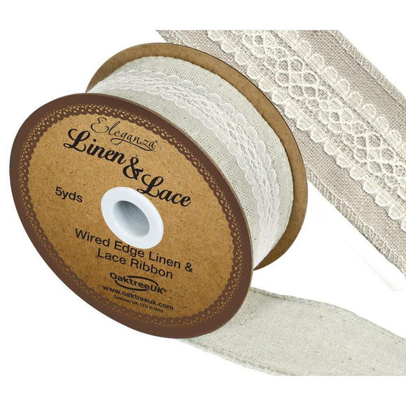 Eleganza Linen and Lace Wired Edge Ribbon - Ivory 38mm-The Creative Bride