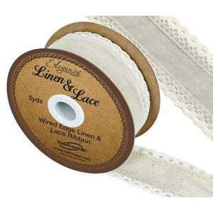 Eleganza Linen and Lace Wired Edge Ribbon - Ivory 50mm-The Creative Bride
