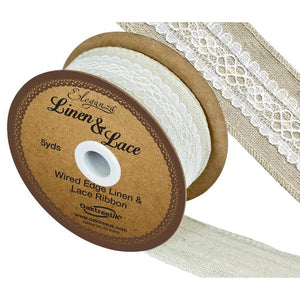 Eleganza Linen and Lace Wired Edge Ribbon - White 38mm-The Creative Bride