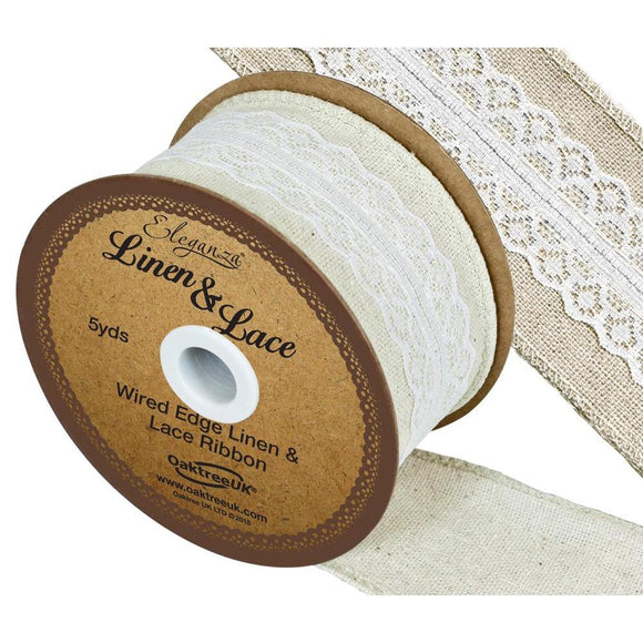Eleganza Linen and Lace Wired Edge Ribbon - White 50mm-The Creative Bride