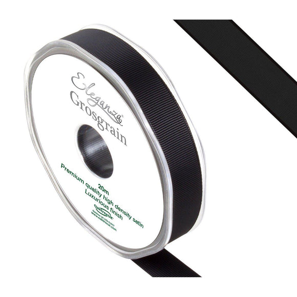 Eleganza Premium Satin Grosgrain Ribbon - Black 15mm-The Creative Bride