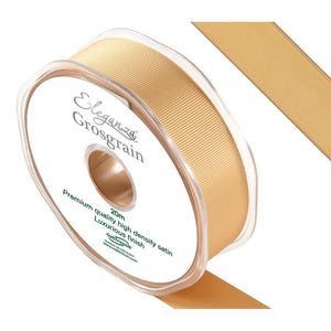 Eleganza Premium Satin Grosgrain Ribbon - Gold 25mm-The Creative Bride
