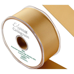 Eleganza Premium Satin Grosgrain Ribbon - Gold 38mm-The Creative Bride