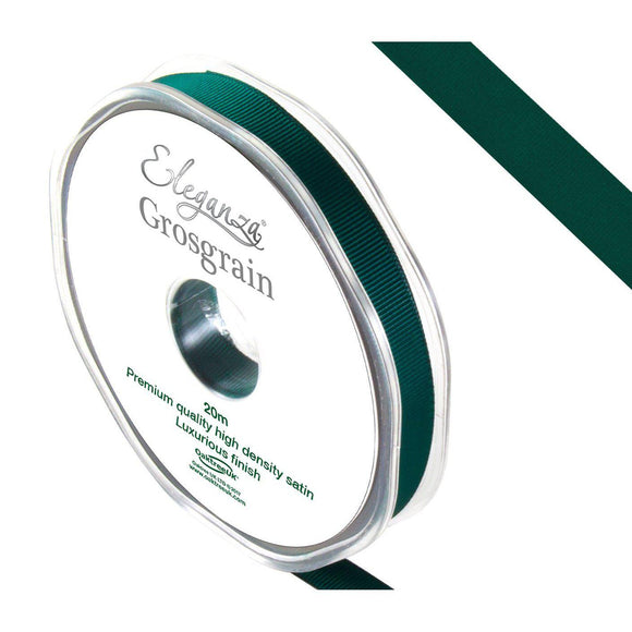 Eleganza Premium Satin Grosgrain Ribbon - Green 10mm-The Creative Bride
