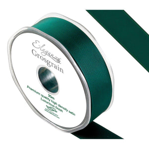 Eleganza Premium Satin Grosgrain Ribbon - Green 25mm-The Creative Bride