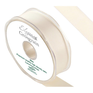 Eleganza Premium Satin Grosgrain Ribbon - Ivory 25mm-The Creative Bride