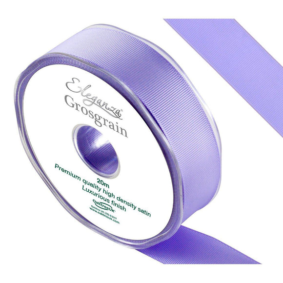 Eleganza Premium Satin Grosgrain Ribbon - Lavender 25mm-The Creative Bride