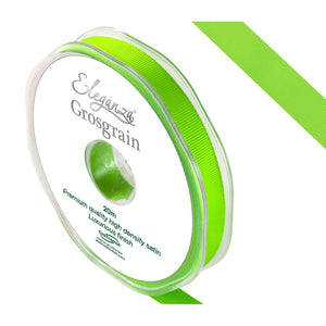 Eleganza Premium Satin Grosgrain Ribbon - Lime Green 10mm-The Creative Bride