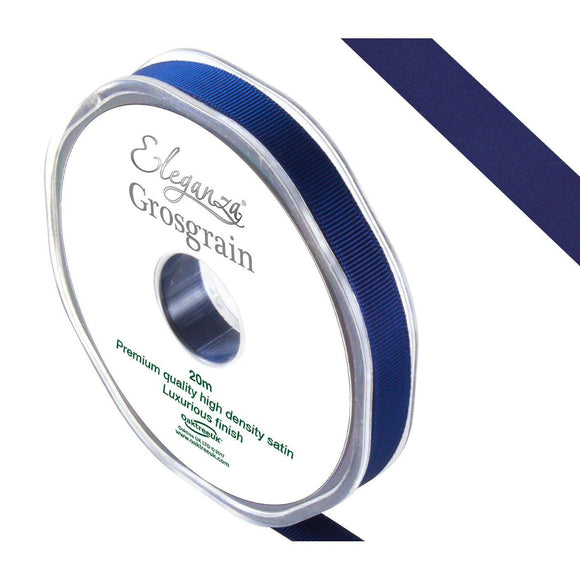 Eleganza Premium Satin Grosgrain Ribbon - Midnight Blue 10mm-The Creative Bride
