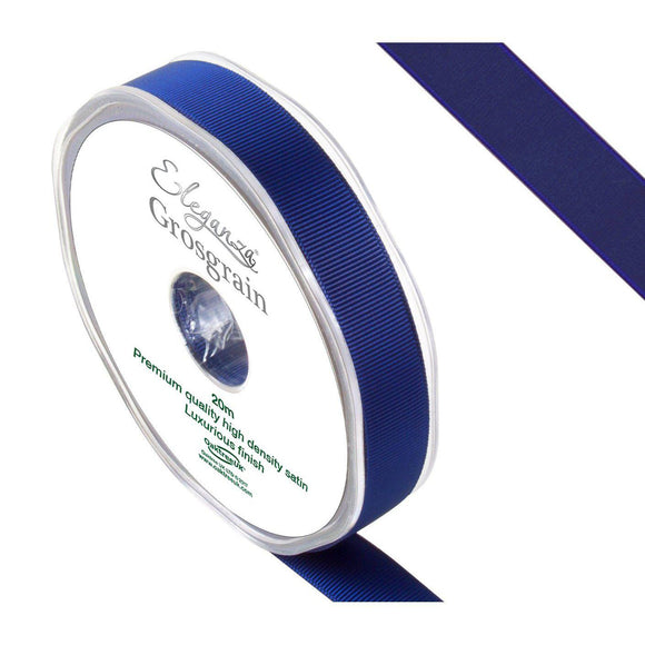 Eleganza Premium Satin Grosgrain Ribbon - Midnight Blue 15mm-The Creative Bride
