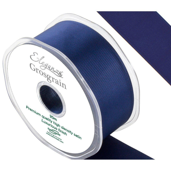 Eleganza Premium Satin Grosgrain Ribbon - Midnight Blue 38mm-The Creative Bride