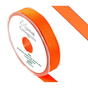 Eleganza Premium Satin Grosgrain Ribbon - Orange 15mm-The Creative Bride