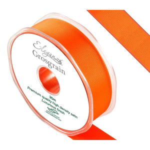 Eleganza Premium Satin Grosgrain Ribbon - Orange 25mm-The Creative Bride