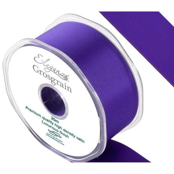 Eleganza Premium Satin Grosgrain Ribbon - Purple 38mm-The Creative Bride