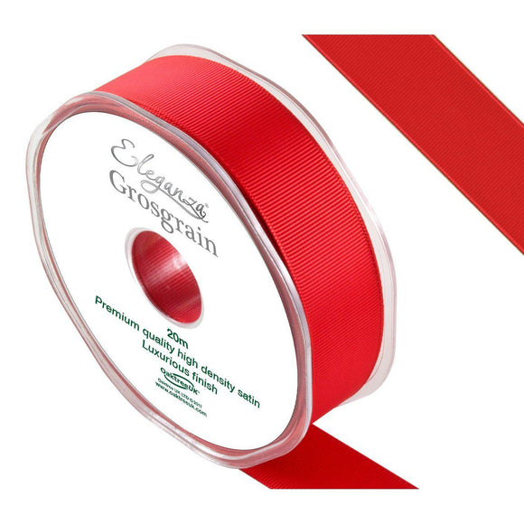 Eleganza Premium Satin Grosgrain Ribbon - Red 25mm-The Creative Bride